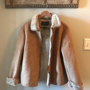 Vintage Faux Vegan Suede Shearling ZIP Up Coat
